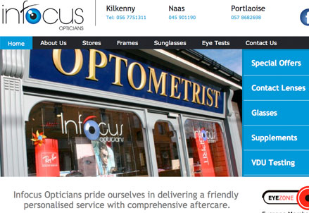 Infocus Opticians website