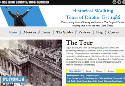 Historical Walking Tours of Dublin website